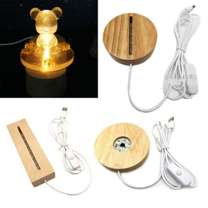 Resin Art Wood LED Light Dispaly Base Crystal Glass Art Ornament LED Night Lamp Wooden Night Lighted Base Stand Crafts Handmade