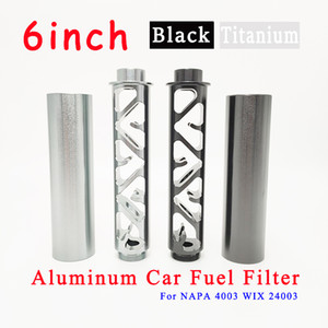 6inch Aluminum Single Core Oil Fuel Filter Solvent Trap 1 2-28 or 5 8-24 Thread For NAPA 4003 WIX 24003 For Car Use