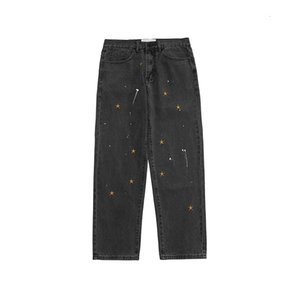 Autumn New Streetwear Splash Ink Embroidery Washed Loose Jeans Men and Women Straight Harajuku Hip Hop Baggy Denim Trousers0S04