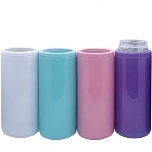 Sublimación puede enfriar el calor Transferencia de calor delgado delgado CAN ANILLO ANILLO En blanco Flaca de doble pared de acero inoxidable refrigerador de vacío DIY regalo 123 V2