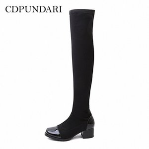 Knee Boots 여성 허벅지의 Cdpundari 스트레칭 패브릭 겨울 신발 여성 Botas Mujer Bottine Femme Womens 신발 하이킹 B J3AX #