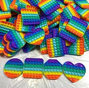 Rainbow Push Pop Bubble Sensory Toy Autism ha bisogno di Squishy Stress Reliever Giocattoli per adulti Bambino adulto Divertente Anti-stress Pop River Stress