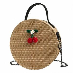 2018 New Fashion Shoulder Bag Vintage Women Crossbody Bags Simple Weave Round Tote Handbags Shoulder Bag Cute Round Handbags Red Handb a7tv#