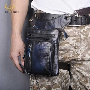 Genuine Leather Men Design Casual Shoulder Bag Fashion Multi Function Fanny Waist Belt Pack Drop Leg Bag 8 Tablet Case 211 11 Cute Fan H6os#