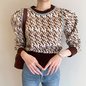 2021 Spring New Women Sweater Fashion Retro Wild Houndstooth Jacquard Long Sleeve Knitwear Office Lady Pullover Knitted Tops