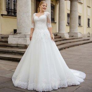 Plus A-Line Wedding Dresses tamanho a line vestido de casamento querida metade sem mangas laço capela trem tule noiva com apliques
