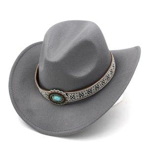 Unisex Outdoor Western Cowboy Cowgirl Riding Jazz Church Wool Blend Sombrero Hat Wide Stiff Brim Cap