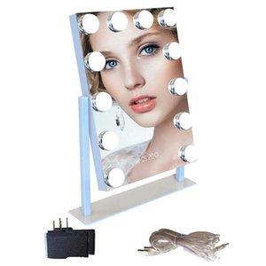 هوليوود بلوتوث المتكلم الرقمية ساعة 12 الصمام المصابيح ماكياج مرآة ضوء اللمس أضواء مرآة قابل للتعديل للإضاءة مستحضرات التجميل