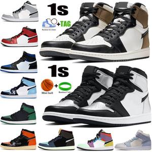 Yeni 1 Yüksek 1 S Erkek Basketbol Ayakkabıları Koyu Mocha Gümüş Toe Işık Duman Gri UNC Patent Siyah Metalik Altın Erkek Kadın Sneakers