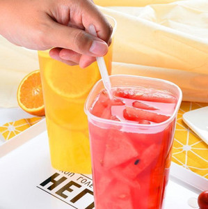 960ML Disposable Cups Thick Transparent Plastic Drinking Cups With Lid Juice Tea Cup With Fork Wholesale