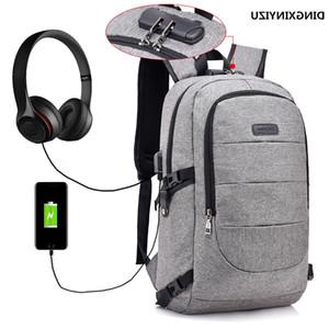 Mochila anti-roubo das mulheres masculinas, bolsa de viagem de montanhismo com carregador USB, fone de ouvido, gato e música