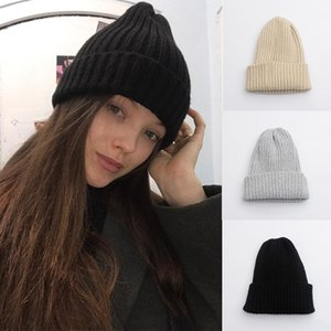Beanie Skull Caps Women Beanie Spring Winter Wool Knitted Hat Solid Color Soft Warm Girls Lady Casual Cap