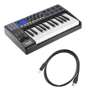 WORLDE PANDA25 25-Key Ultra-portable USB MIDI Keyboard 8 Drum Pads Controller with USB Cable
