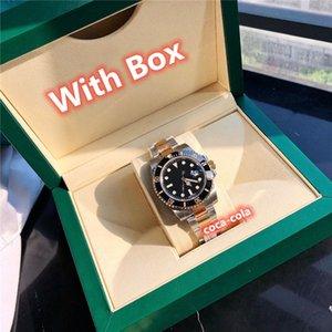 waterproof automatic Movement 40mm Top Quality Sapphire Luminescent Watches Black Dial Men's Watch swim BLack Ceramic Two Tone Gold black original box SBB Factory