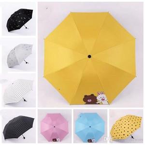 Parapluies à trois pliants portables mini parapluie pliante plaid poignée de la poignée courte parapluie Sun Uplrelly Factory Direct Wholesale LXL1175-1