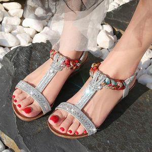 Эластичная полоса Rome Sandals Женская летняя пляжная вечеринка Bling повседневная обувь Женский Большой размер Кристалл Сандалии High Care Bohemia Sandalias R0Lo #