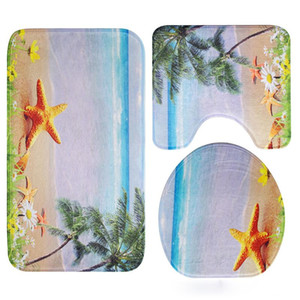 Bath Mat 3D Beach Scenic Printed Bathroom Carpet Absorbent Mat for Toilet Bathroom Floor Carpets Non-slip Bath Rugs Shower Rug