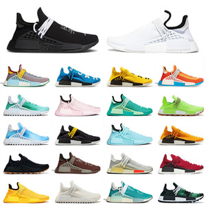 2021 Nueva llegada Pharrell Williams NMD Human Race Blanco Blanco Hombres Mujeres Running Shoes Classic Amarillo Pale Nude Cream Pink Trainers 36-47
