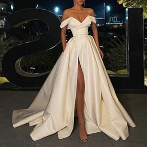 New A-line Wedding Dresses Off Shoulder Floor Length High Side Split Sweep Train Satin Backless With Pockets Bridal Gowns Wedding Dress