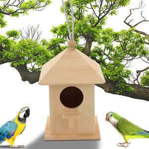 Nido di uccelli in legno Appeso Bird House Casa in Legno Naturale Cage in legno Posto di riposo Posizionato a muro Box Birdhouse Box Birdhouse