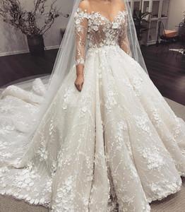 Vestidos De Novia 2021 Arabic Luxury Beaded Wedding Dresses Long Sleeves Floral Applique Wedding Bridal Gowns Robe De Mariee