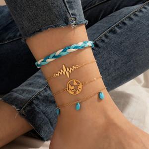 4 pz donna catena cavigliera braccialetto sexy mappa sexy barefoot sandalo spiaggia nappe a piedi catene braccialetto per lady party gioielli regalo