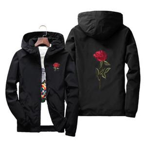 Gül Ceket Rüzgarlık Erkekler Ve Kadın Çocuk Ceket Yeni Moda Beyaz Ve Siyah Güller Dış Giyim Coat Erkek Artı Boyutu S-7XL
