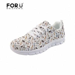 Forudesigns Sneakers Femmes Appartements Greyhound Chien Pet Pierre Pet Panneau Casual Mesdames Chaussures Plateforme Confortable Lacets Femmes Chaussures 2018 77YH #
