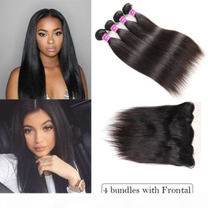 Top Selling Brazilian Virgin Hair Vendors Straight Human Hair Weave Bundles With Lace Closure Ear To Ear Frontal Remy Hair Extensions Wefts