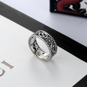 ZB009YX Fashion Brand 925 Sterling Silver Hollow Chrysanthemum Ring with Box Gift Size 10-24 for Men Women