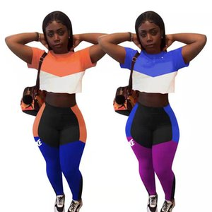 Summer Women jogger suit plus size 2X outfits panelled tracksuits short sleeve T-shirt+leggings two piece set casual sweatsuits 4501
