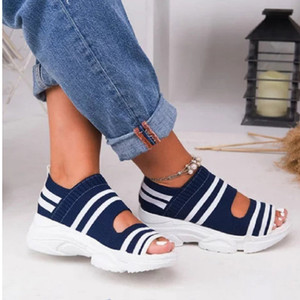 Summer Women Sandals Open Toe Wedges Platform Ladies Shoes Knitting Lightweight Sneakers Sandals Big Size 35-43 Zapatos Mujer 210226