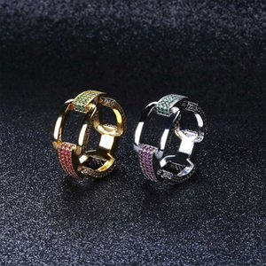 Luxury Jewelry 7 8 9 10 11 Inch Hip Hop Combine Chain Rings Multi Color Square Cubic Zirconia Men's Ring Party Gift B1204