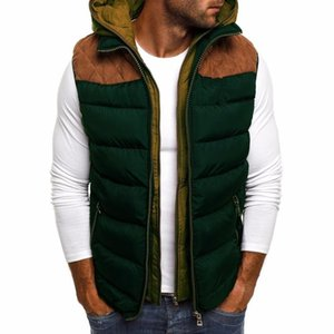 Men's Vests ZOGAA Winter Men Jacket Vest Warm Cotton Sleeveless Hooded Parkas Casual Waistcoat Zipper Patchwork Coat