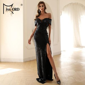 Bissord Sexy Off Spalla Paillettes Dress per le donne Backless Manica corta Maxi Dress Slash Neck Summer Sera Party M0845-2