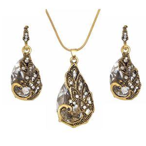 Earrings & Necklace Hesiod Vintage Women Elegant Peacock Waterdrop Rhinestone Pendant Crystal Jewelry Set Wedding Jewlery