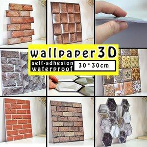 30 * 30 cm 3D Papel tapiz Pegatinas DIY Ladrillo Piedra Auto adhesivo Impermeable Papel de pared Decoración para el hogar Cocina Cuarto de baño Sala de estar Tile Pegatina Renovación