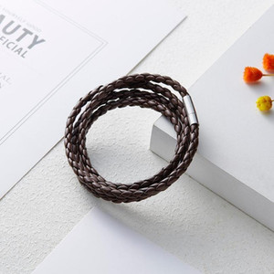Multilayer Leather Bracelets Women Men Punk Wristband Braid Bangles Handmade Rope Wrap Bracelets Birthday Party Lucky jllXHD