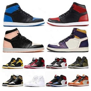 صندوق مزدوج 2021 1 عالية og أحذية كرة السلة 1 ثانية منتصف منخفض شيكاغو الملكي تو أسود معدني UNC رجل إمرأة الرياضة أحذية رياضية حذاء المدربين