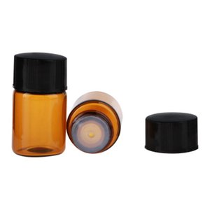 DHLFree Shipping,Factory Price ,1ML Amber Mini Glass Bottle 1CC Amber Sample Vial Small Perfume Essential Oil Bottle