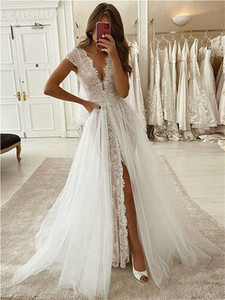 Sexy High Split Deep V-Neck Wedding Dresses with Overskirt A Line Boho Beach Lace Tulle Bridal Gowns 2021 Country Wedding Dress Vestidos