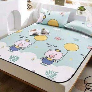 Sheets & Sets Cartoon Style Ice Silk Mat Summer Home Bedroom Bedding 3pcs Set 1 Mattress+2 Case Non-Slip King Queen Size 2021 J8444 Sheet
