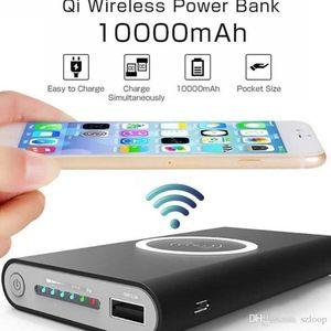 Banque de puissance portable 10000mAh PORTABLE PORTABLE QI Chargeur sans fil pour iPhone 8 Samsung S6 S7 S8 PowerBank Téléphone mobile Chargeur sans fil