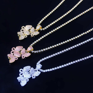 Women Iced Out Butterfly Necklaces Animal Pendants Tennis Chain Jewelry Fashion Crystal Rhinestone Pendant Necklace Gold Silver Pink Color