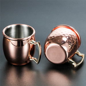 60ml 2oz Mini Moscow Mule Mug Hammered Wine Tumbler Copper Plated Cocktail Cup Whisky Glass Coffee Bar Drinkware 18 8 Stainless Steel