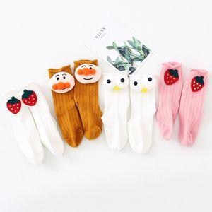 Ins Wind Neugeborene Baby Mittlere Röhre Baumwolle Socken Koreanische Version Niedliche Cartoon Kirsche Erdbeer gekräuselte Lose Socken 0-1 Jahre alt C0224