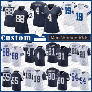 4 DAK Prescott Custom Men Women Kids Football Jersey 88 Ceedee Lamb 21 Ezekiel Elliott Amari Cooper Leighton Vander Esch Demarcus Lavrence