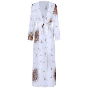 2021 Spring and Summer Sexy Women Chiffon Long Shirt Kimono Bikini Cardigan Leopard Print Contrast Cardigan Beach Long Shirt Blouse Women