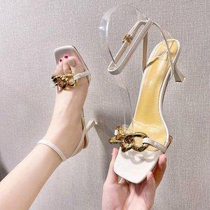 Sandalet Kadın Sandal Moda Bayan Ayakkabı 2021 Temizle Topuklar Açık Burun Toka Kayışı Med Kızlar Lüks Yaz Comfort Stiletto Bej Pee