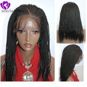 New arrival 13x4 Lace Black Lace Wigs High Temperature Fiber Hair Synthetic Lace Front Wig Long Braided Box Braids Wigs for Black Women
